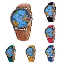 Men Women Watch World Map Design Analog Quartz Watch Leather Wristwatch Reloj Mujer Round Case Time Clock Lady Gift #2522