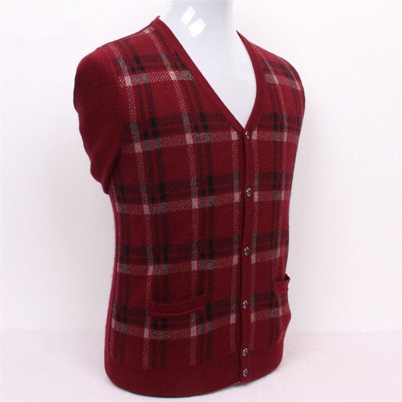 Чистый козел кашемир толстой вязки Мужчины плед свитер с v образным вырезом Серый 2 вида цветов S/3XL