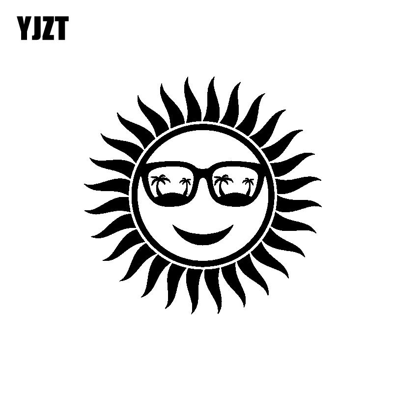 YJZT 15.1CM*15.1CM Interesting Beautiful Positive Sun Glasses Beach Nice Vinyl Decal Car Sticker Black/Silver C19-1547