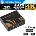 HDMI Splitter 4K 1X2 3D&1080P HDMI 1 in 2 out HDMI1.4 with power for PS4,PS4,HDTV,Blue ray DVD Player(true 4KX2k/30hz)
