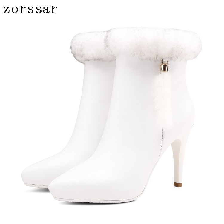 {Zorssar} Luxury brand Natural leather platform heels boots Women Ankle Boots High Heels Women Shoes Winter warm snow boots brand new suede leather women platform boots famous designer high heels dress shoes woman gladiator luxury women ankle boots