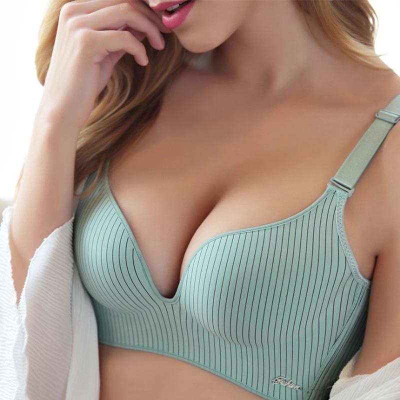 2020 High-end Brand Romantic Temptation Bra Set Women Striped Underwear Set Hot Sale Push Up Seamless Lingerie Female Sets 90C 1