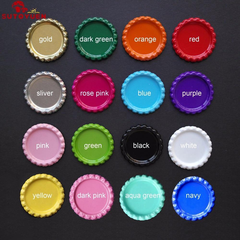 27fd9f543 600 قطعة/الوحدة اثنين الجانبية الملونة 1 بوصة بالارض قبعات زجاجة diy  hairbow الشعر الانحناء قلادة اكسسوارات ميكس 16 ألوان