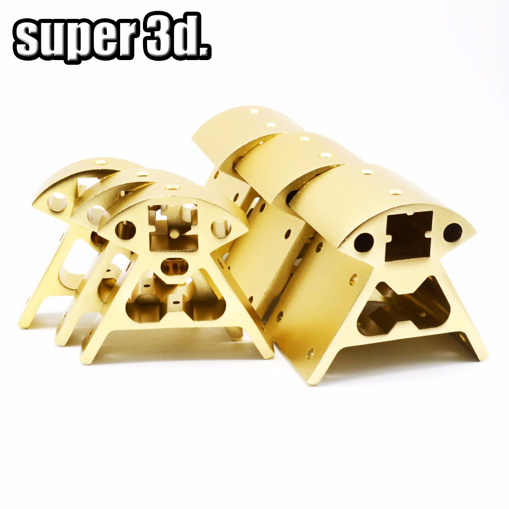 1set 2020 Kossel Aluminum Alloy Corners Profile Kossel Black/Gold Vertex 3pcs Bottom+3pcs Top Reprap 3D Printer Frame Parts
