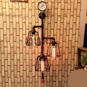 Ống nước Sắt đèn Cổ Điển American Nông Thôn nỗi nhớ lưới sắt thanh đèn Showcase Hiển Thị hội trường tường SG23