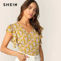 a31cab542a08 SHEIN Floral Print V-Neck Butterfly Sleeve Blouse Boho Style Ginger Cap  Sleeve Blouse 2019