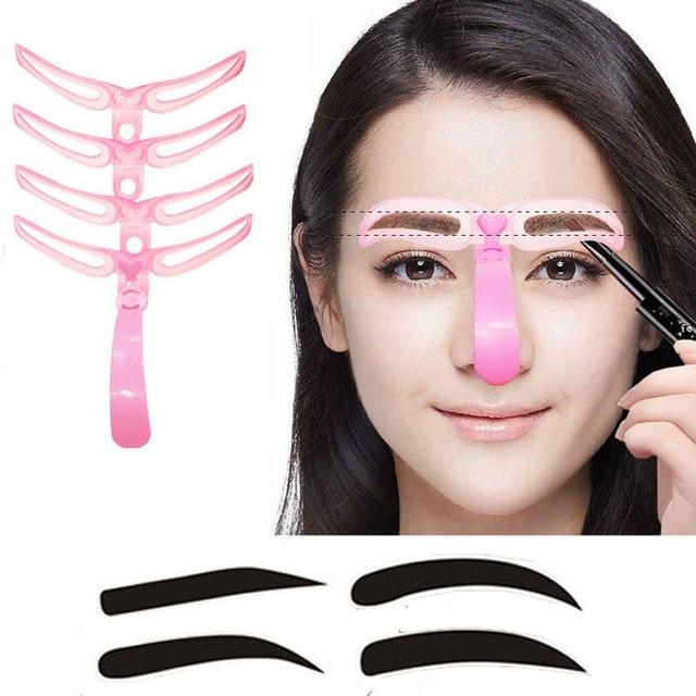 4pcs/set eyebrow shaper eye brow makeup tools Reusable Design Grooming eyebrow eyeliner stencil AC067A03