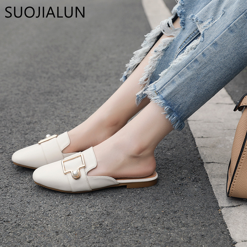 SUOJIALUN Big Size 35-41 Summer Ladies Casual Flat Slippers Women Round Toe Mules Shoes Outside Slides Women Slip On Sandals 2018 large size summer korean slides pearl slippers pointed toe designer women sandals ladies china mules beautiful flats shoes