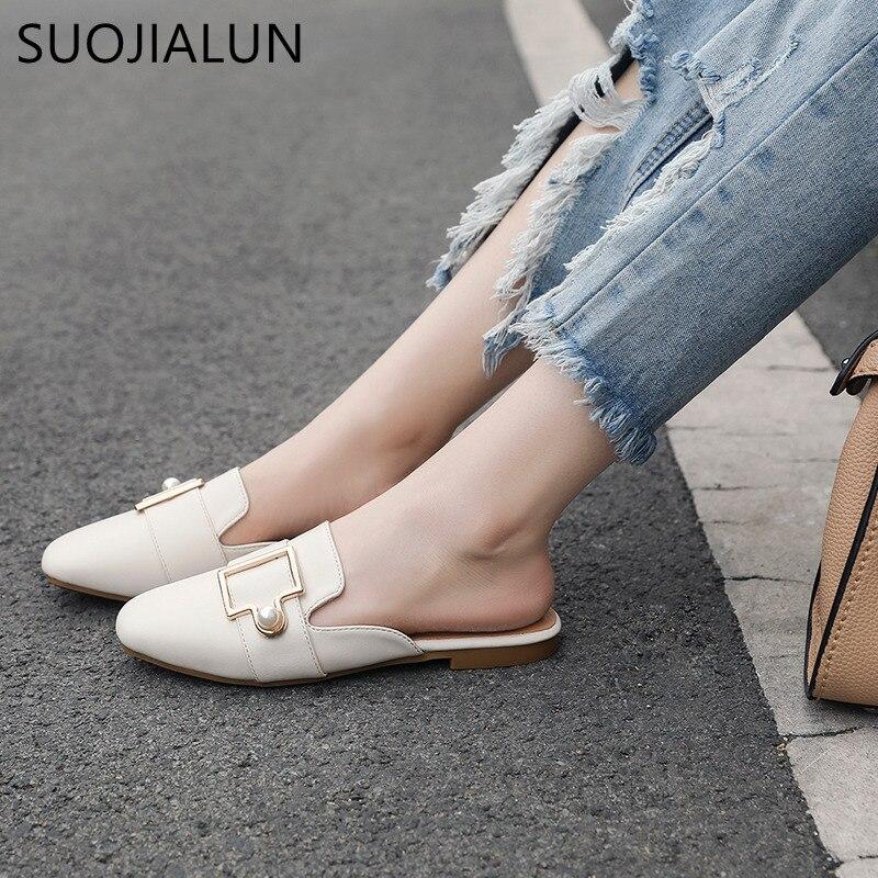 SUOJIALUN большой размер 35-41 летние женские Повседневное плоские тапочки Для женщин круглый носок Шлёпанцы обувь вне слайды Для женщин слипоны ...