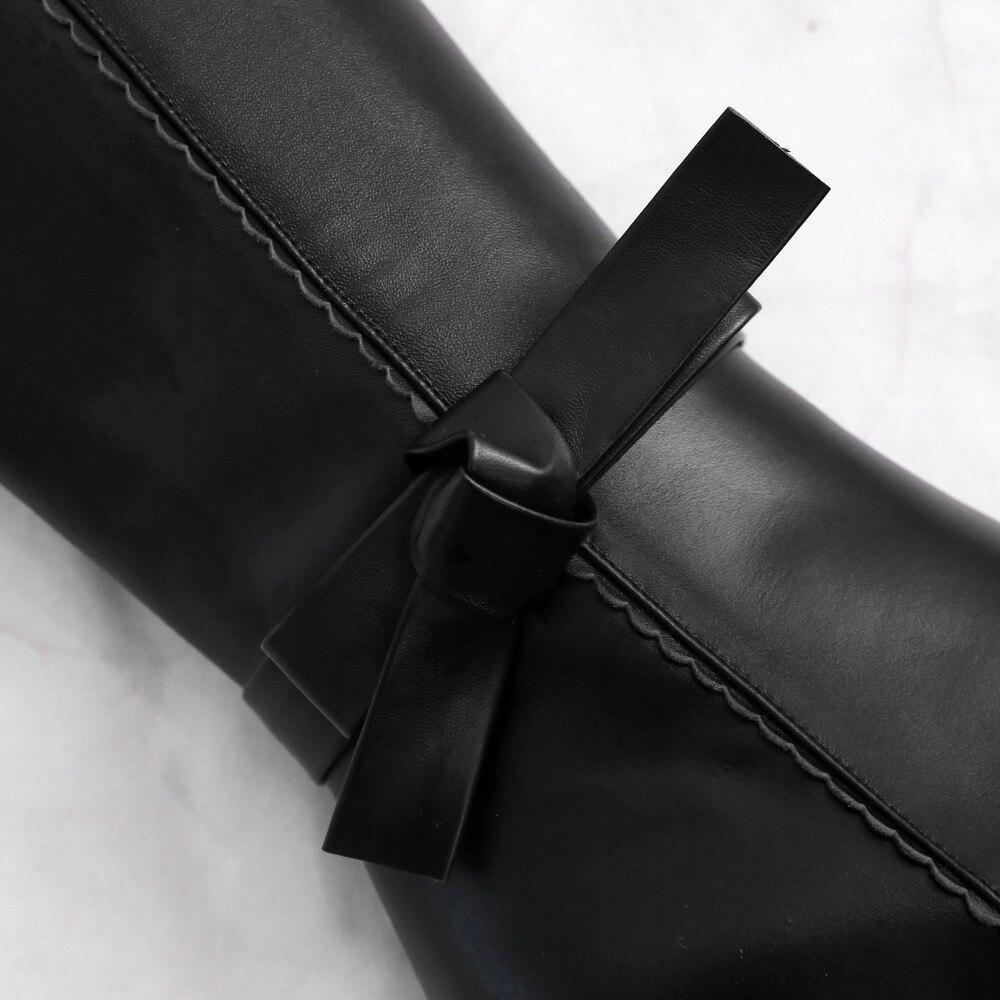 Talons Pointu Soirée Dames Bottes Mince Hiver À De 43 Cuir Bout Taille Chaussures En Longues Femmes Haute Sexy Hauts Black 33 Genou Véritable Plus La 7HWqCC