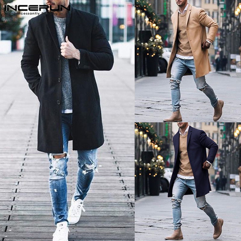 INCERUN Fashion Men   Trench   Coats Long Sleeve Business Jackets Outerwear Solid Winter Casual Slim Fit Men Windbreaker 2019 S-5XL