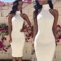 Женская мода Рукавов Бинты Bodycon мода мини-Юбки белый лето элегантная дама