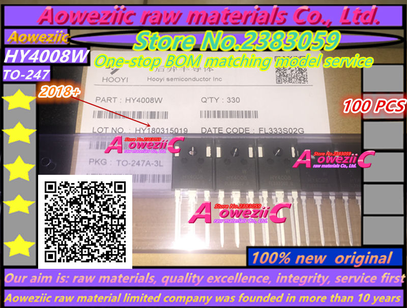 Aoweziic 2018+ 100PCS 100% new original HY4008 HY4008W TO-247 MOSFET inverter Ultra chip 80V 200A new and original 100pcs irf740pbf irf740 to 220 3 mosfet n channel in stock