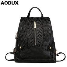 AODUX New Womens Genuine Leather Backpack Crocodile Pattern Female Backpacks School Bags For Girls Teenagers Cowhide Mochila