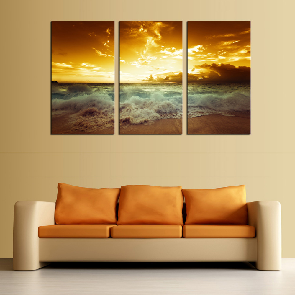 3 panels Hot Sell In the evening sea Modern Home Wall Decor painting ...