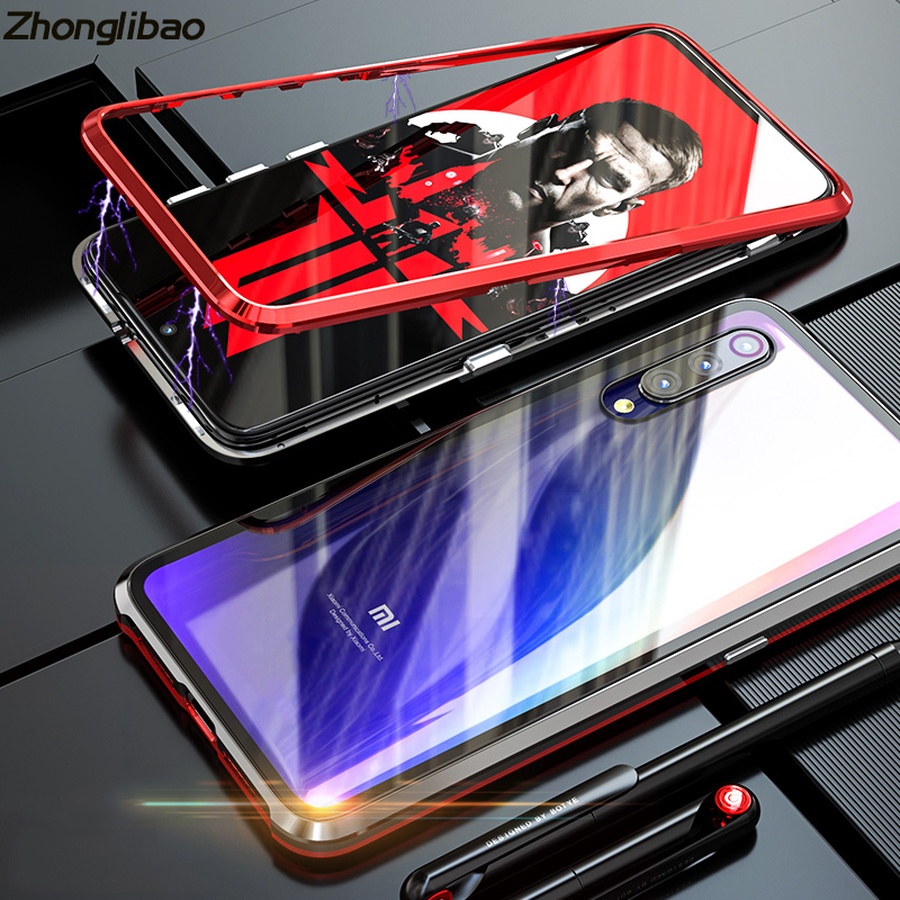 Luxury Metal Frame Transparent Tempered Glass Cover for Xiaomi 9 Magnetic Adsorption Protection Sleeve for Xiaomi Mi 9 image