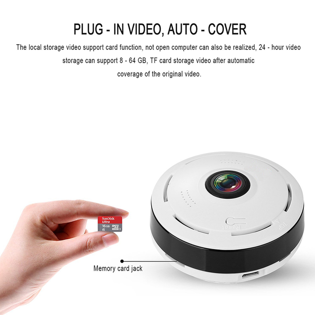 Kruiqi Mini Wifi IP Camera 1080P 360 Degree Camera IP Fisheye Panoramic 2MP WIFI PTZ IP Cam Wireless Video Surveillance Camera