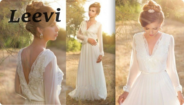 Hippie Long Sleeve Wedding China Chiffon Bohemian Style Bodas Vestido De Noiva 2017 Manga Longa