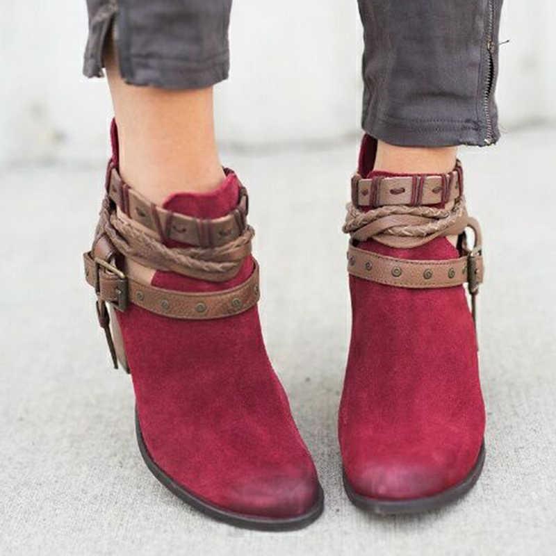 ผู้หญิงรองเท้าแฟชั่นสุภาพสตรีรองเท้า Martin รองเท้าหนังนิ่มหนังหัวเข็มขัดรองเท้ารองเท้าส้นสูงซิปหิมะรองเท้าสำหรับ Femme