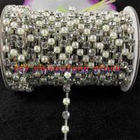 DIY, 1 yard, Diamante Trimmen, SS18 (4,3mm), Weiße Perle, + Weiß Kristall glas Strass Silber Kette nähen familie schmückt hochzeit