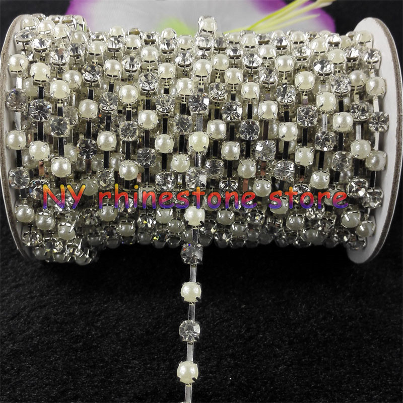 5//16 Inch, 5 Yards, White Hotfix Beaded Trim Bling Rhinestone Ribbon for Crafts Applique Embellishments
