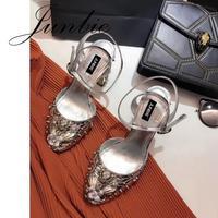JUNBIE Глод серебро из натуральной кожи Мэри Джейн Туфли лодочки на сезон лето осень Кристалл Бисер шипованных WomenChunky высоком каблуке