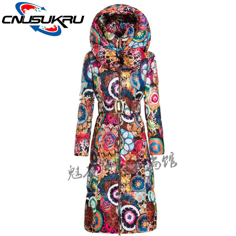 2017 Real Limited Full Ukraine Snow Wear Wadded Jacket Winter Women Coats Printed Parka Thicken Cotton Hooded Outerwear Female