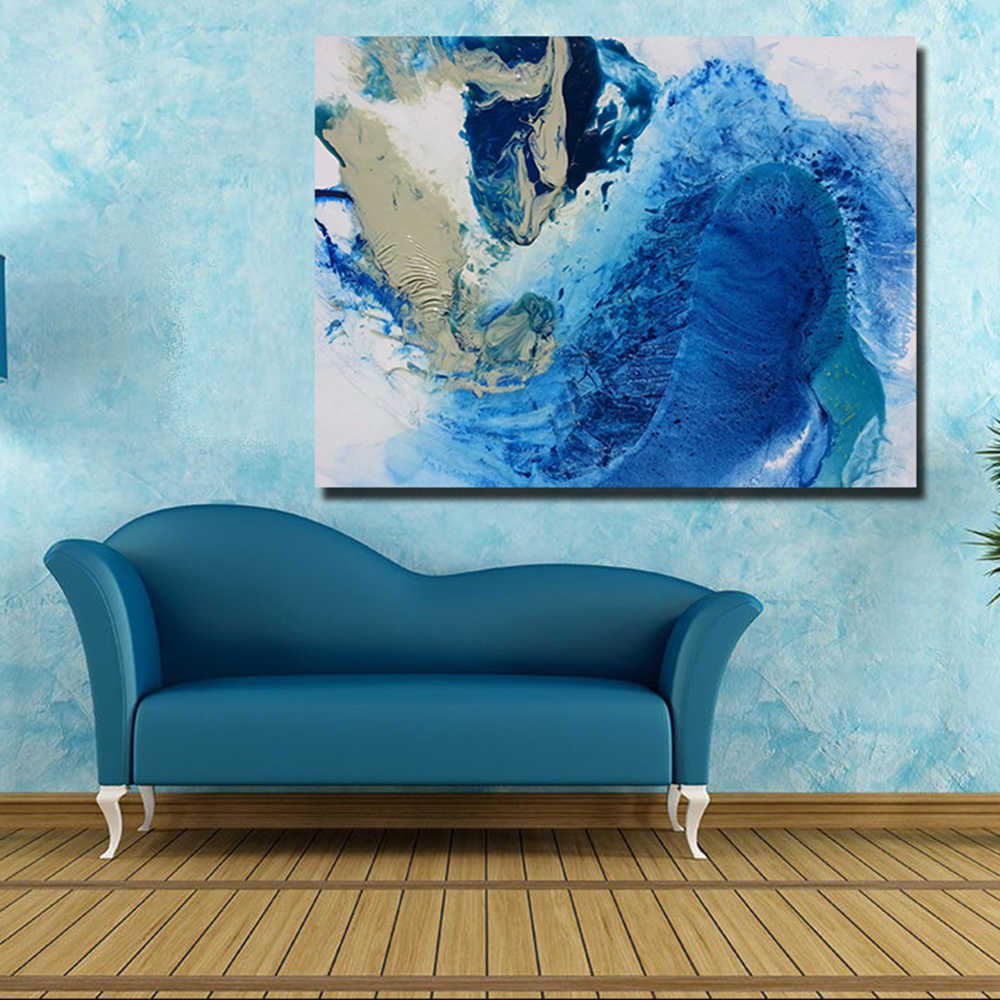HDARTISAN  Abstract Canvas Art Oil Painting Blue abstract Wall Pictures For Living Room Home Decor Frameless