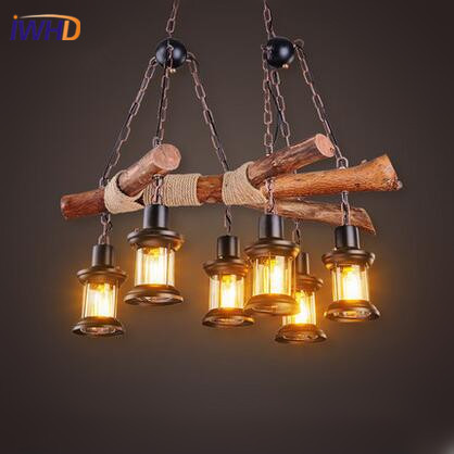 IWHD Vintage Industrial Loft Style LED Pendant Lights Wooden Retro Pendant Lamp RH Droplight Fixtures For Home Lighting Bar Cafe