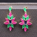 Fashion Gold Plated Imitation Emerald Ruby Sapphire Rhombus Flower Earring For W
