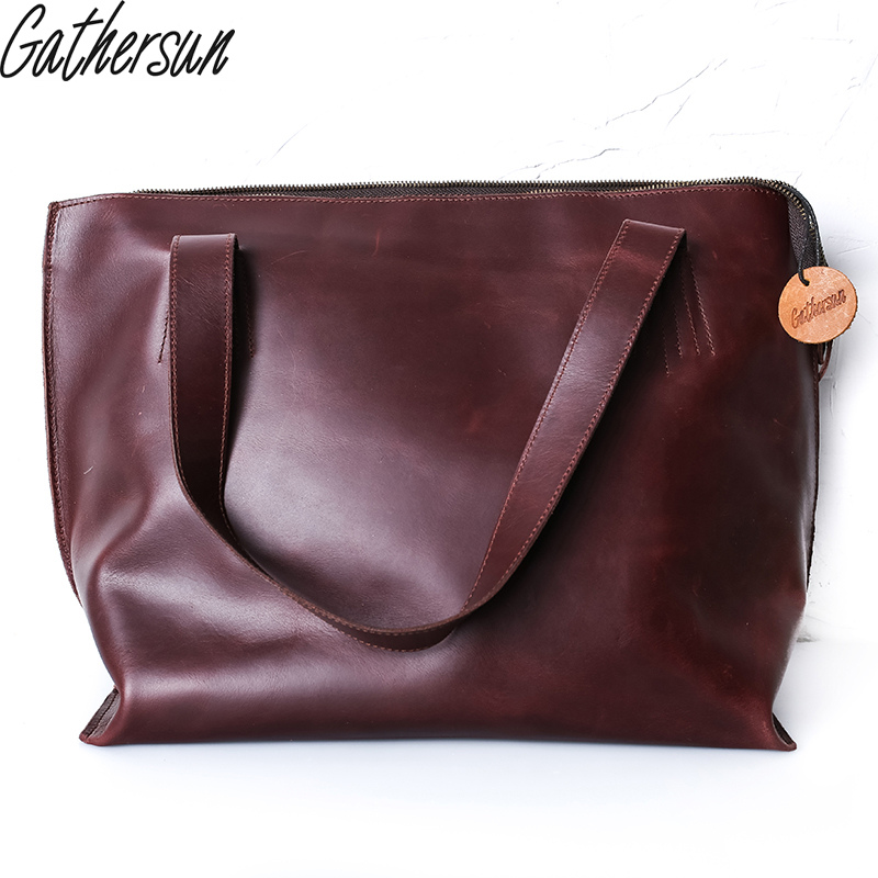 купить Gathersun Brand vintage handbag handmade women genuine leather casual totes cross body cowhide shoulder bag ladies bag недорого