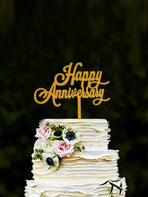 Hy Anniversary Cake Topper Gold Color Acrylic Decor For First Wedding Party