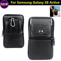 Cell Phone Case Genuine Leather Zipper Pouch Belt Clip Waist Purse Cover For Samsung Galaxy S8