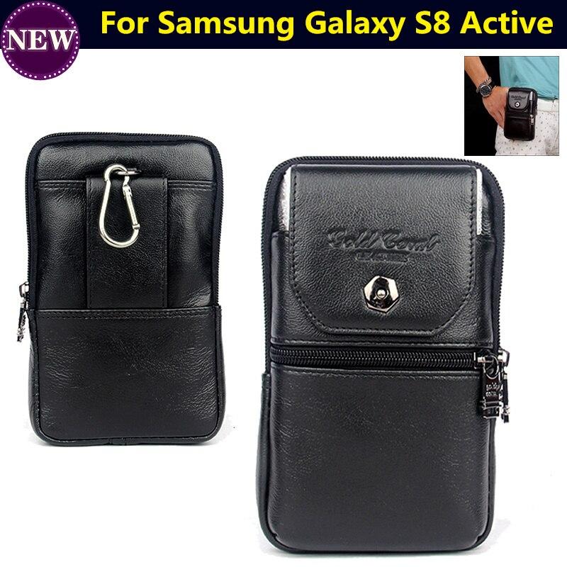 Mobiele Telefoon Geval Lederen Rits Pouch Riemclip Taille Purse Cover voor Samsung Galaxy S8 Actieve 5.8 inch Tas Gratis verzending