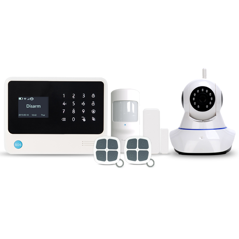 433MHz Wireless alarm system security WIFI GSM SMS GPRS home security alarm system GSM burglar alarm system with wifi IP cameras free shipping etiger s3b wireless security alarm system with gsm transmitter 433mhz es cam2a wifi hd 720p day night ip camera