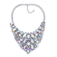 New Exaggerated Alloy Inlaid Crystal Retro Necklace Rhinestone Pendant Clavicle Chain Boutique