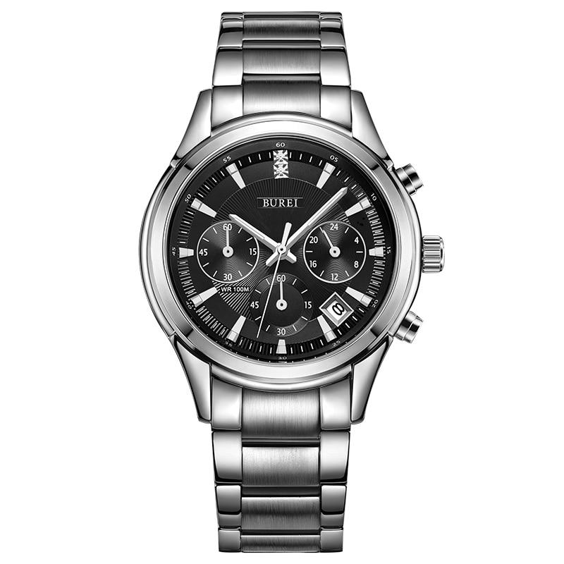 BUREI 2016 Men Watch Stainless Steel Quartz Waterproof Wristwatch Analog Auto Date Luxury Business Man Watches Relojes Hombre