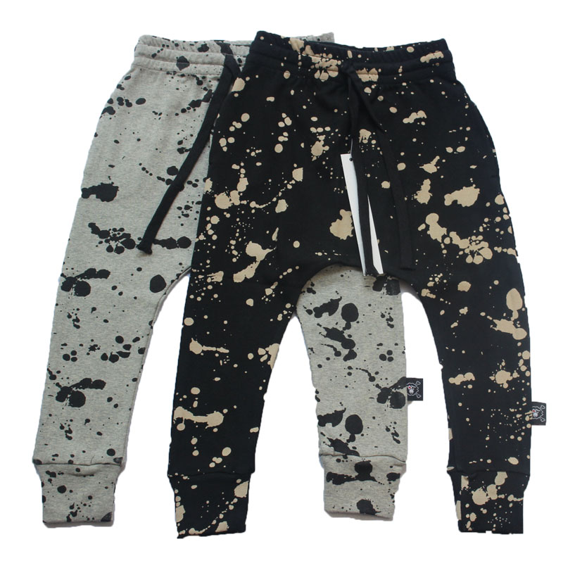 Children Cotton Trousers Nununu Harem Pants Splash Brush Stroke Half Half Baggy Pants For Boys Girls
