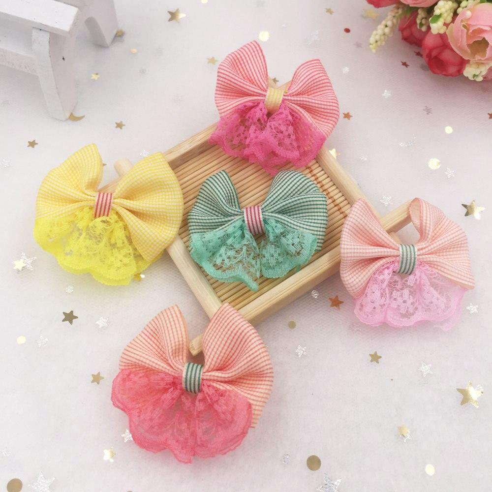 Us 1 98 New 20pcs Handmade Satin Ribbon Organza Lace Lattice Bow Appliques Craft Christmas Gift Bows Diy Wedding Sa46 In Christmas Bows From Home