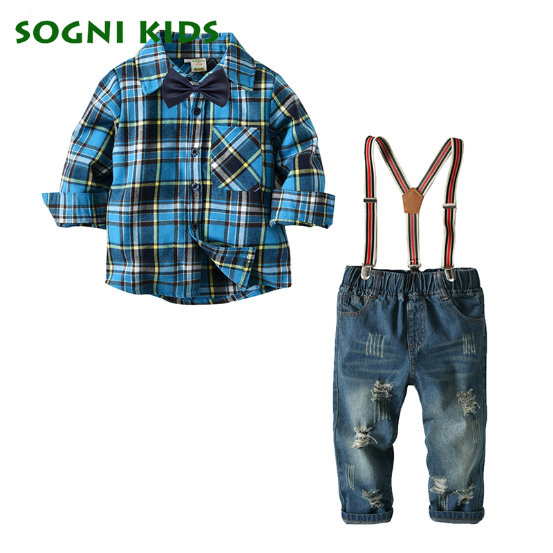 Children's Clothing Boys Blouse Dark Ripped Jeans Fashion Plaid Shirts Detachable Braces Leisurewear Fashion 2018 New Brand 2017 fashion mens patch jeans slim straight denim biker jeans trousers new brand superably jeans ripped dark jeans men u329