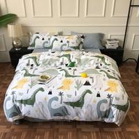 Cartoon Tyrannosaurus Rex Kids Duvet Quilt Cover Queen King Jurassic World Dinosaur Boys Bedding Fitted Bed Sheet Duvet Cover