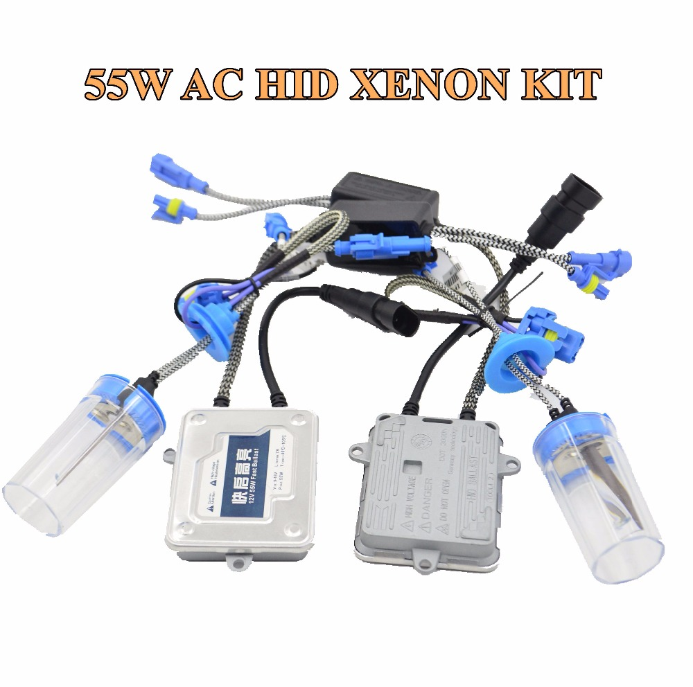 55w AC hid xenon kit ballast hid conversion kit xenon ballast xenon bulb white color 6000k car headlight auto lamp h1 h7 h8 makibes h7 55w 12v xenon hid kit car headlight xenon bulb