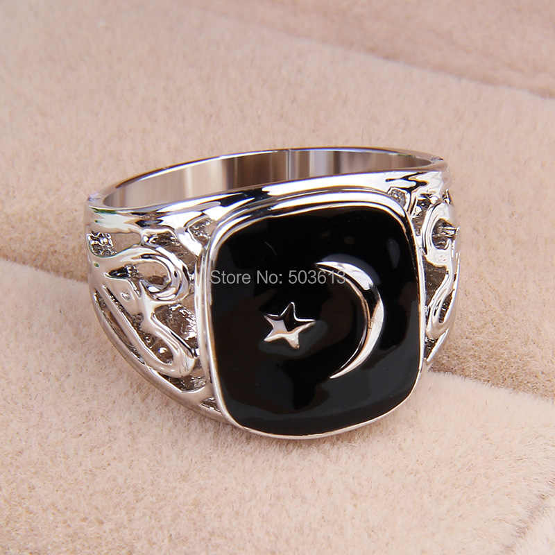 popular zinc alloy men's hollow-out  black enamel Turkey flag ring  US 8/8.5/9/10 size one piece xydr187