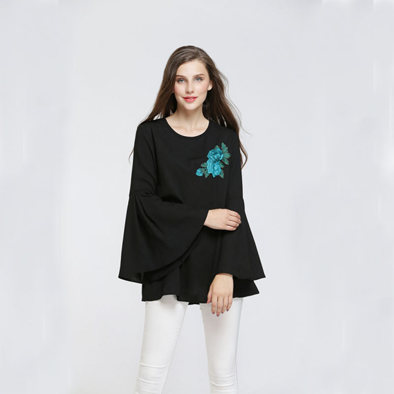 Women Chiffon Blouses & Shirts Flare Sleeve Embroidery Flower Decorate Long Sleeve O Neck Summer Arabic M Blouse