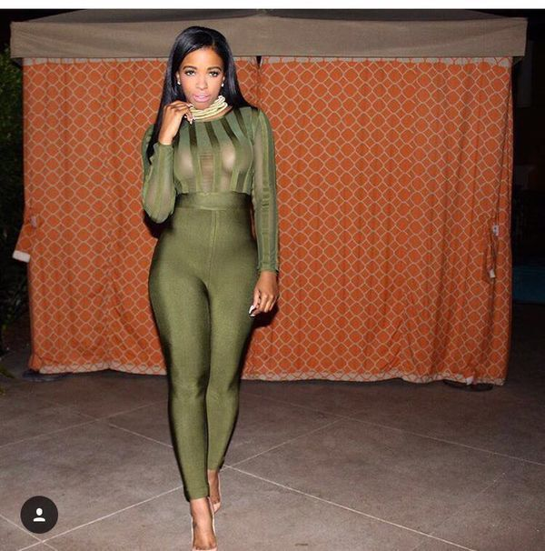 New Celebrity Long Sleeve Green Black Hollow Out Bandage Jumpsuit Top Quality Evening Party Jumpsuit