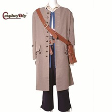 Cosplaydiy Pirates Of The Caribbean Jack Sparrow Cosplay Costume Adult Mens Full Set Outfit Custom Made D0812
