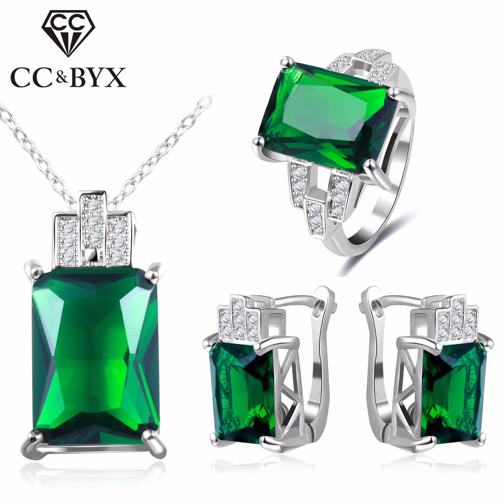 CC Jewelry Fashion Jewelry Set For Women 925 Sterling Silver Jewelry Green Stone CZ Wedding Sets Earring Necklace Ring CCAS119 Ювелирное изделие