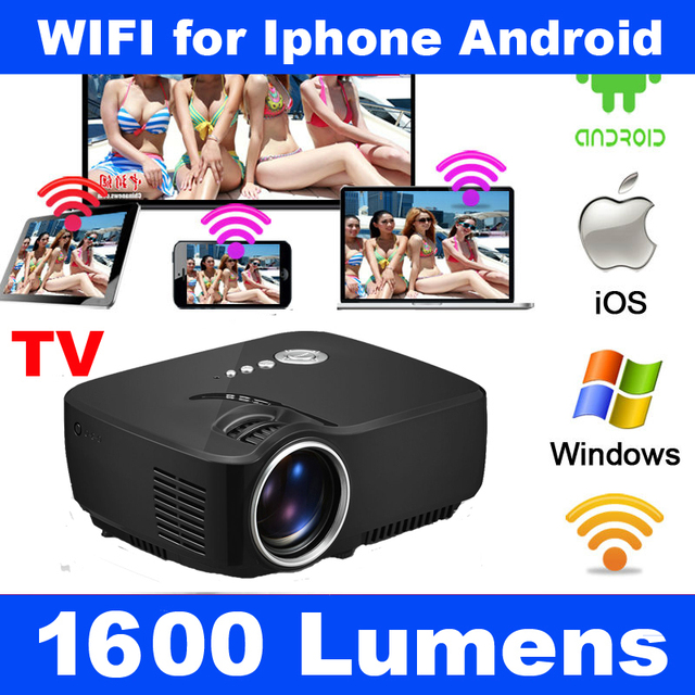 Inteligente Miracast Airplay WIFI HDMI LCD Portátil de Vídeo de Cine En Casa mini 1080 p hd 3d led tv proyector proyector para iphone Android