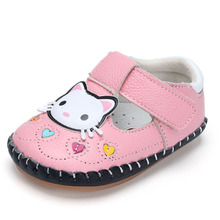 XQT.GZ Newborn Baby Shoes Cute Cartoon Kitty Baby Footwear Spring Baby Girl Shoes Soft Sole Cow Leather Shoes Infants Crib Shoes