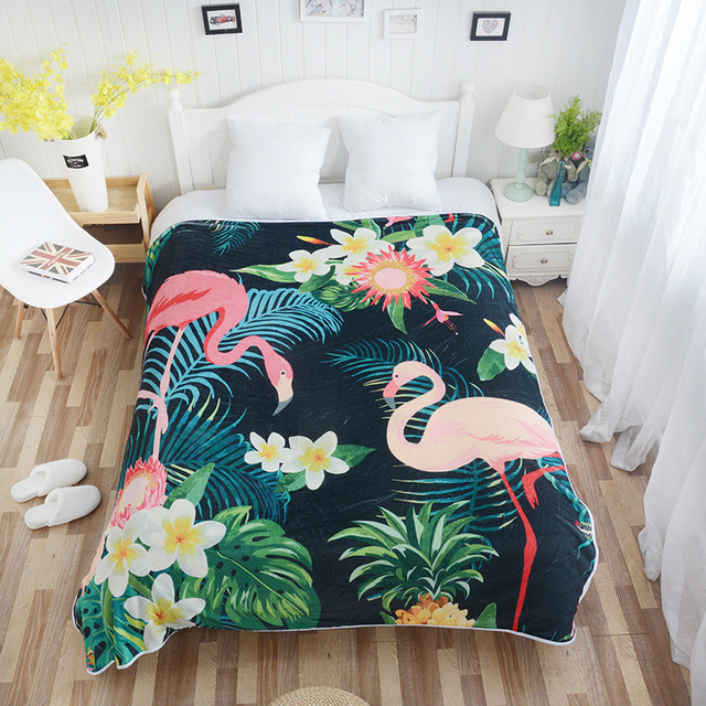 Home Textiles 2019 Flamingo Tropical Plant Fleece Blankets for Beds Birds Printed Quilt Bedding Plaids Sofa Bed Covers Bedspread